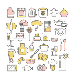 thin line art style design kitchen icon set vector image