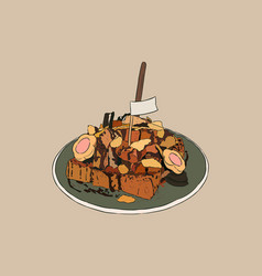 Toasted bread with overload topping hand draw vector