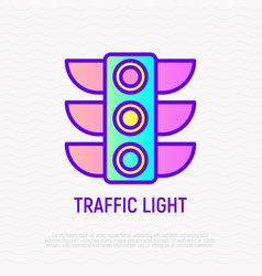 traffic lights thin line icon vector image
