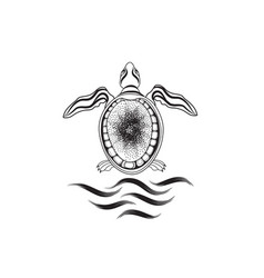 turtle marine reptile isolated animal icon vector image