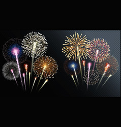 Two groups isolated fireworks vector