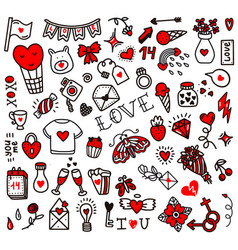 Valentines day love set doodle style vector