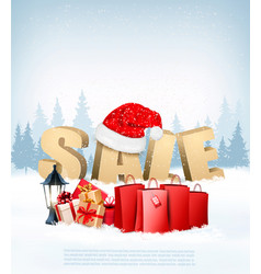 Winter sale background with shopping bags and vector