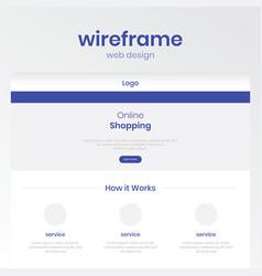 Wireframe for online shop template web design vector