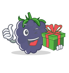 With gift blackberry character cartoon style vector