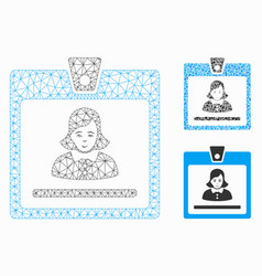 woman badge mesh network model and triangle vector image