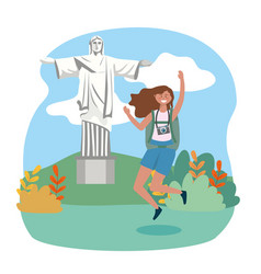 woman jumping with backpack and camera to christ vector image