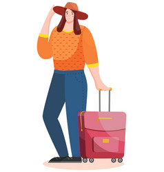 woman tourist with rolling suitcases person vector image