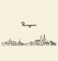 yangon skyline myanmar city drawn sketch vector image