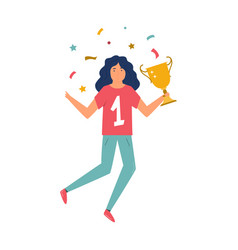 young athlete girl with a trophy in a hand vector image
