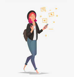 young female student with a phone communicates in vector image