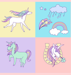 Bright happy birthday card with unicorns clouds vector