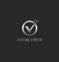 Check mark logo silver testing software or web app vector image vector image