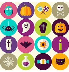 Flat Halloween Trick or Treat Seamless Pattern vector image vector image