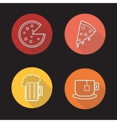 Pizza flat linear icons set vector image