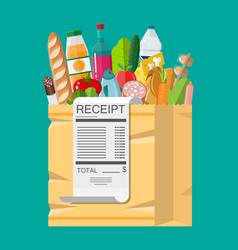 shopping bag full of groceries and receipt vector image