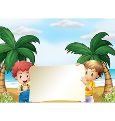 Two male kids holding an empty signboard vector image vector image