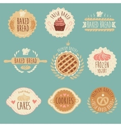 Bakery Labels Set Bread Vintage vector image
