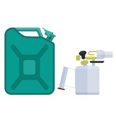 Canister and blowtorch vector image vector image