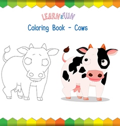 Cows coloring book educational game vector image vector image