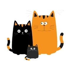 Cute cartoon funny cat family Mother father and vector image