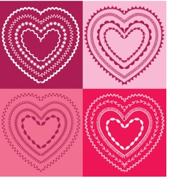 embroidered valentine hearts vector image