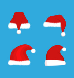 red santa claus hats set christmas vector image