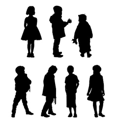 The silhouettes of boys and girls of preschool age vector image