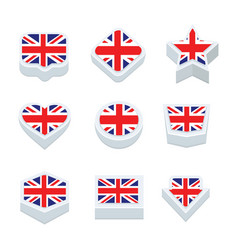 united kingdom flags icons and button set nine vector image