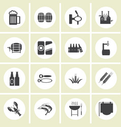 beer icons set - bottle glass pint vector image vector image