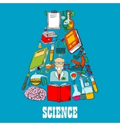 Chemistry flask emblem of science icons vector image