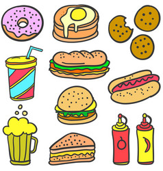 doodle of food style design collection vector image