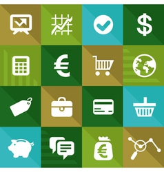 finance and business icons in flat style vector image
