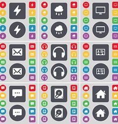 Flash Cloud Monitor Message Headphones Contact vector image
