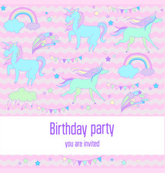 bright birthday background with unicorns clouds vector image