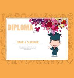 certificate kids diploma kindergarten template vector image