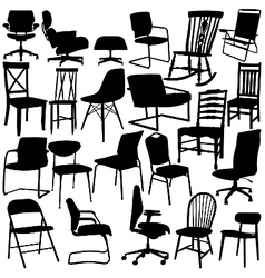 chair silhouettes on white background vector image vector image