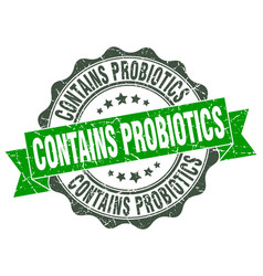 contains probiotics stamp sign seal vector image vector image