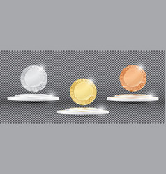 gold silver and bronze medals on transparent vector image