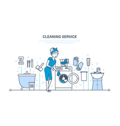 housewife in bathroom engaged in cleaning service vector image vector image