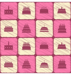 Seamless background with birthday cake vector image