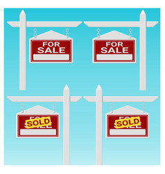 Set of house for sale sign vector