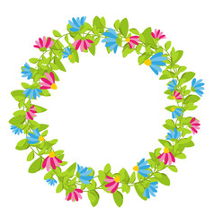 spring floral wreath with red and blue blooms vector image