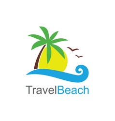 travel beach logo vector image vector image