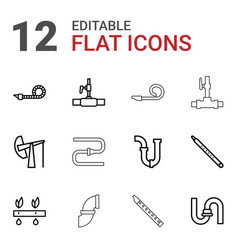 12 pipe icons vector