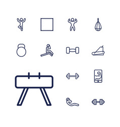 13 gym icons vector image
