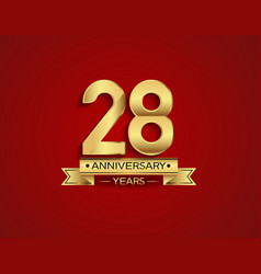 28 years anniversary golden design color vector