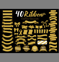 40 gold ribbon vector