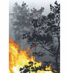 a fire in a wood vector image