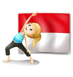 A girl doing her exercise in front vector